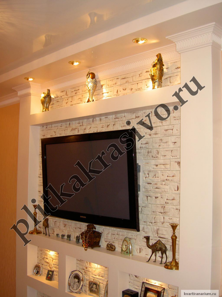 Дизайн стены под телевизор фото
